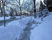 Upton Avenue Sidewalk in Winter