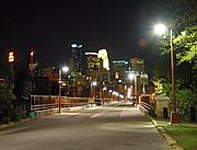 Stone Arch Bridge and Skyline at Night