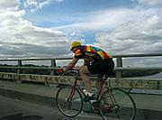 Cyclist on Ford Parkway Bridge