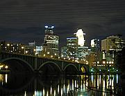 Bridge, River, and Downtown Minneapolis Skyline at Night
