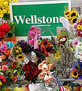 Wellstone Campaign Sign and Flowers