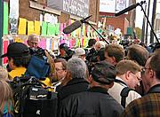 Media Outside the Wellstone Campaign Headquarters
