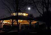 Park Pavilion at Night with Moon