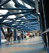 Skyway Interior with People Walking