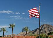 American Flag, Palm Trees, and Mountains