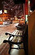 Bench on 43rd Street at Night