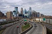 Freeway and Downtown Minneapolis Skyline