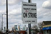 Transit Union Strike Picket Sign