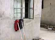 Mops Outside Rural Home in China