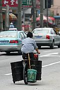 Man Hauling Steel Drums by Bicycle