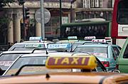 Taxis in Traffic, Shanghai, China