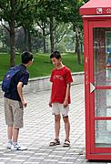 Boys Talking by Phonebooth, Shanghai