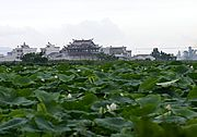 Farm Field and Traditional Chinese Building