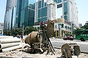 Cement Mixer in Downtown Shenzhen