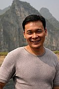 Chinese Man on Li River Cruise, Guilin, China