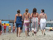 Girls in Towels Walking on the Beach