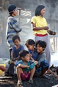 Kids and Teenagers in Riverbank Slum