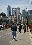 Pedestrians on Stone Arch Bridge