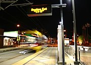 Light Rail Train Leaving at Night