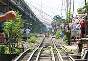 Railroad Tracks and Shanties in Manila
