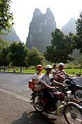 Karst Peek and Chinese Tourists on Motorcycles