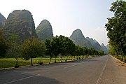 Karst Mountains along Road in China