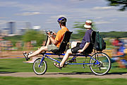 Couple Riding Tandem Bike at Lake Calhoun