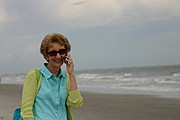 Woman on Cell Phone Call at the Beach