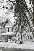 House in Midwestern Snowstorm
