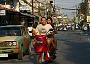 Man and Woman on Scooter, Fields Avenue, Angeles City
