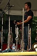 Brass Instruments at a Festival's Music Stage