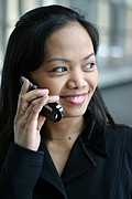 Close-up of Asian Woman on Cell Phone