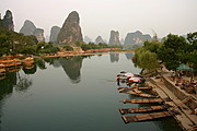 Karst Mountain and Bamboo Raft on Li River