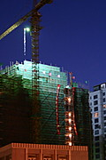 Construction Site at Night, Beijing, China