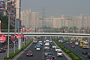 Freeway, Footbridge, and High-Rises in Beijing, China
