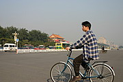 Man on a Bicycle near the Forbidden City
