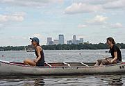 Two People Canoeing in Lake Calhoun