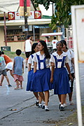 Students Strolling along the Vicinity of the Town of Balibago in Angeles City Philippines