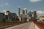 Downtown Minneapolis Skyline and Pedestrian Path