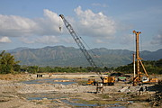 Crane and Piledriver Doing Road Construction in Ilocos Sur
