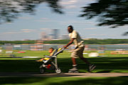 Roller blading Father Pushes Stroller at Lake Calhoun's Bike Path