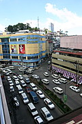 An Overhead View of Abanao Street in Baguio City, Philippines, on a Busy Sunny Day