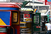 A Row of Colorful Jeepneys in Baguio City, Philippines