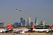 Minneapolis-St.Paul International Airport with the Minneapolis skyline in the background
