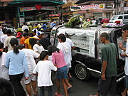 Filipino boy's funeral procession heading to MacArthur Highway, Angeles City, Pampanga