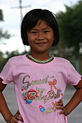 Grinning Filipina Girl, Posing in Pink