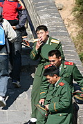 Chinese Soldiers in Green Uniforms at The Great Wall of China
