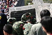 Soldiers in Camoflage at the Great Wall of China