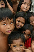 A Cluster of Filipino Kids' Faces in Angeles, Pampanga