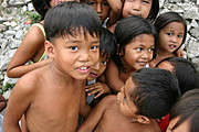 Filipino kids huddling in Angeles City, Pampanga